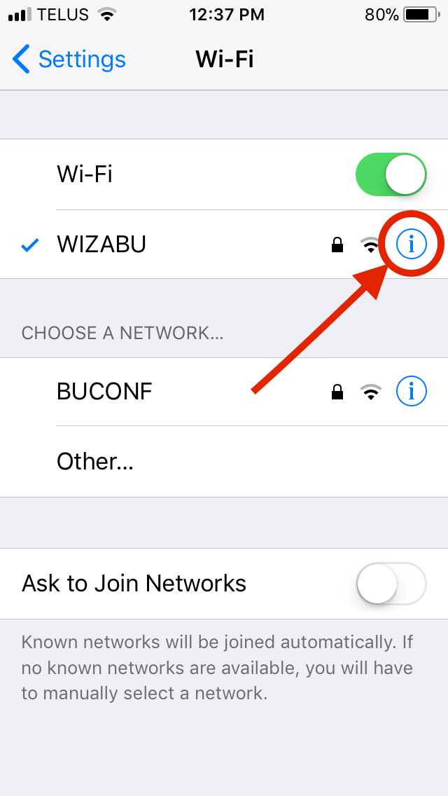 iOS Wi-Fi Menu