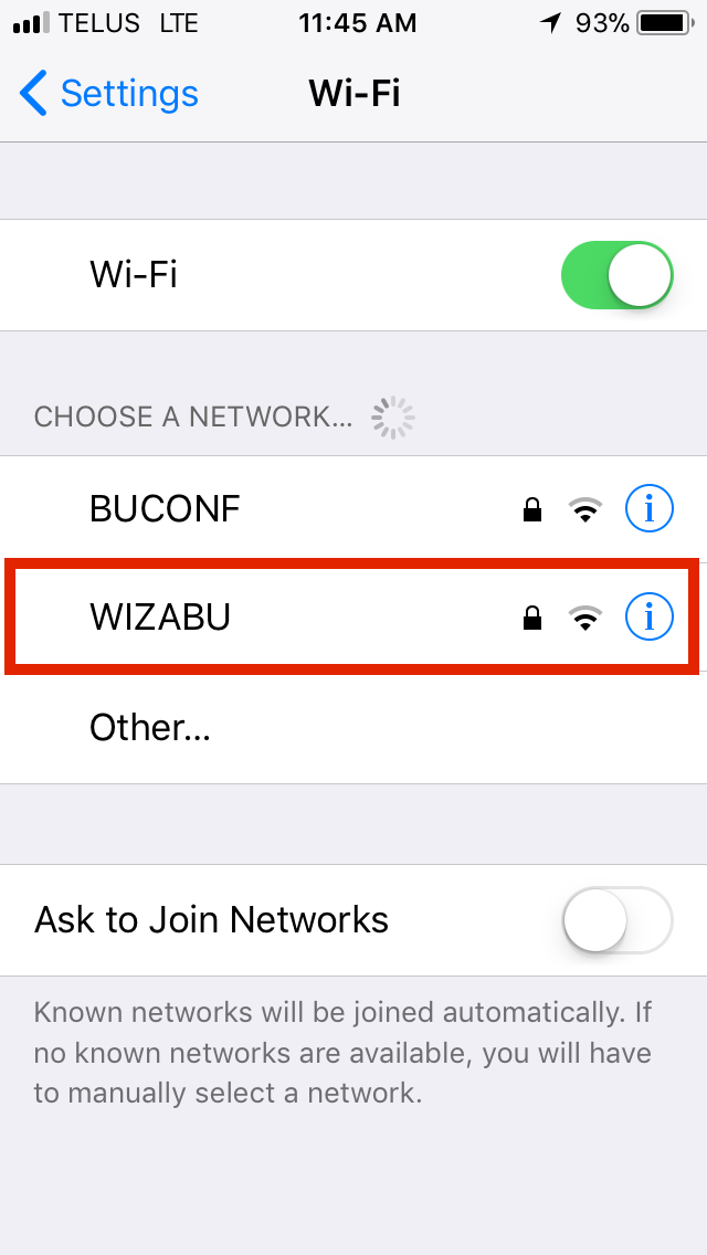 iOS Wi-Fi Menu